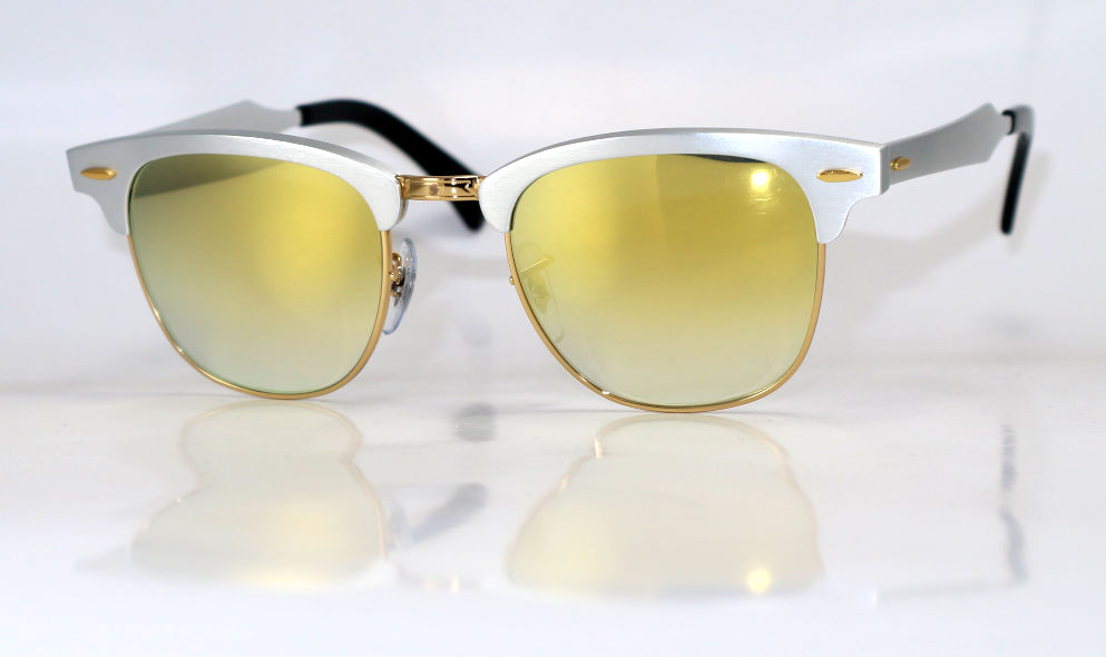 Ray-Ban Clubmaster aluminium 24K gold spiegelcoating